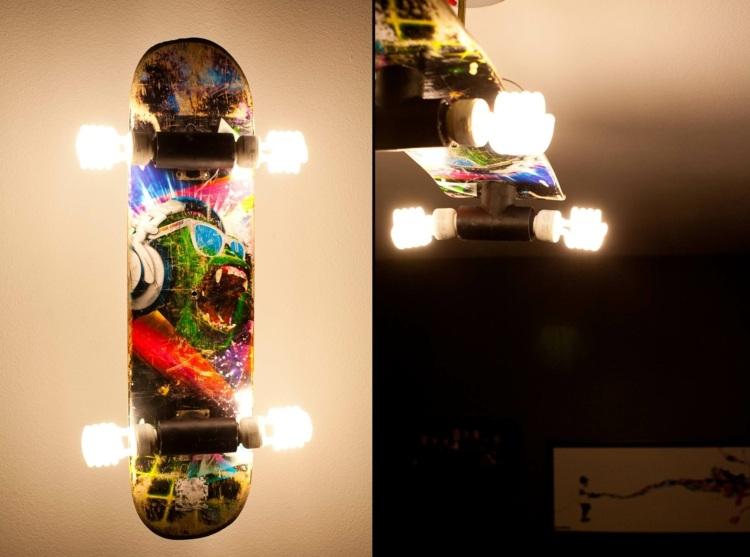 DIY-Möbel-Skateboard-Lampe-Rollen-Ideen